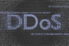 De Ddosaanval in binaire wolk met besmette 3d code geeft terug Stock Foto