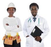 De de Afrikaanse arts en ingenieur van Amerikanen stock fotografie