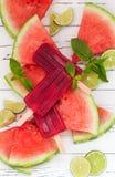 De de alcoholijslollys van watermeloenmojito op watermeloenplakken worden gediend met kalk en munt die gaat weg Cinco de Mayo-pal royalty-vrije stock foto