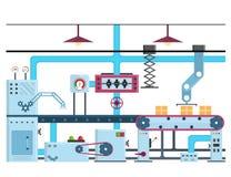 De de Automatische Productielijn of Riem van de fabriekstransportband Vector stock illustratie
