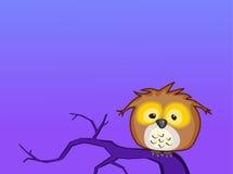 De de babyuil van het beeldverhaal zit op een tak bij nacht-rooster Royalty-vrije Stock Afbeeldingen