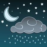 De de beeldverhaalmaan en sterren in de nacht en de wolken met regen laten vallen achtergrond Stock Foto