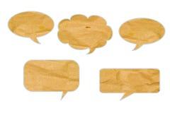 De de besprekingsmarkering van de bel recycleerde document ambachtstok. Stock Foto's