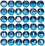 De de blauwe Pictogrammen/Knopen van het Web Stock Foto's