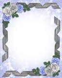 De de Blauwe rozen en linten van de Grens van het huwelijk Stock Afbeeldingen
