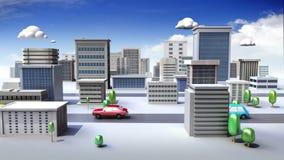 De de bouwbouw en Weg, bouwen stad in animatie vector illustratie