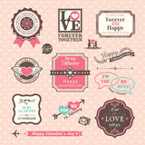 De de dagelementen van Valentine etiketteert en kaders Uitstekende Stijl Stock Afbeeldingen