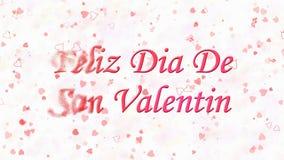 De de Dagtekst van gelukkig Valentine in Spaans Feliz Dia De San Valentin draait aan stof van linkerzijde op lichte achtergrond royalty-vrije illustratie