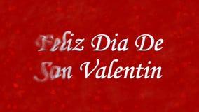 De de Dagtekst van gelukkig Valentine in Spaans Feliz Dia De San Valentin draait aan stof van linkerzijde op rode achtergrond Stock Foto's