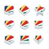 De de de vlaggenpictogrammen en knoop van Seychellen plaatsen negen stijlen Royalty-vrije Stock Afbeelding