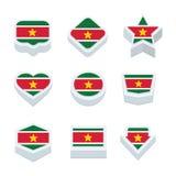 De de de vlaggenpictogrammen en knoop van Suriname plaatsen negen stijlen Stock Foto's