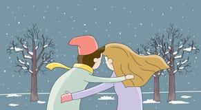 De de de winter liefde-mens en vrouw koesteren elkaar Stock Foto's