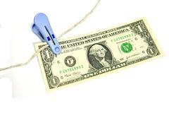 De de dollarrekening van de V.S. van de Bank van de klem verhindert vlieg. royalty-vrije stock fotografie
