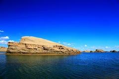 De de Duivelsstad van Wateryardang, landform van het wereld` s unieke water yardang Royalty-vrije Stock Foto's