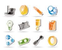 De de eenvoudige Delen van de Auto en pictogrammen van de Diensten Stock Afbeelding