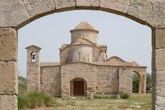 De 6de eeuw Byzantijnse Kerk van Panayiakanakaria, Lytrhrangomi, Cyprus Stock Fotografie