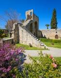de 13de eeuw Gotisch klooster in Bellapais, noordelijk Cyprus royalty-vrije stock fotografie