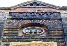 de 19de eeuwbaksteen de Bouwvoorgevel Stock Foto