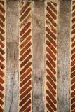 de 18de Eeuwbaksteen en houten muurachtergrond Stock Foto
