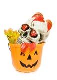 De de enge schedel en pompoen van Halloween Stock Afbeeldingen