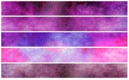 De de fuchsiakleurig violette banners of kopballen van Grunge stock illustratie