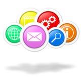 De de gegevensverwerkingstoepassingen en diensten van de wolk royalty-vrije illustratie