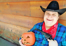 De de gelukkige Cowboy en hefboom-o-Lantaarn van Halloween Royalty-vrije Stock Fotografie