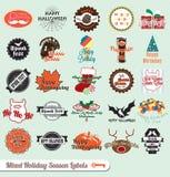 De de gemengde Etiketten en Stickers van de Vakantie vector illustratie