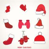 De de Geplaatste Pictogrammen, Elementen en de Illustraties van de Kerstmistypografie Stock Foto's