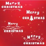 De de Geplaatste Pictogrammen, Elementen en de Illustraties van de Kerstmistypografie Stock Foto