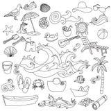 De de getrokken vectorsymbolen en voorwerpen van het de zomerstrand hand Royalty-vrije Stock Foto's