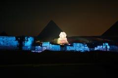 De de Gizapiramide en Sfinx, het geluid en het licht tonen, Kaïro, Egypte stock foto's