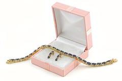 De de gouden halsband en oorringen van Jewelery in doos Royalty-vrije Stock Fotografie
