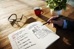 De de Grafiekgroei van het Businessplan het Schrijven Notitieboekjeconcept Royalty-vrije Stock Foto's