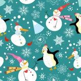 De de grappige sneeuwmannen en pinguïnen van de textuur Royalty-vrije Stock Foto's