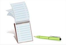 De de groene pen en blocnote van de Ballpoint Stock Foto's