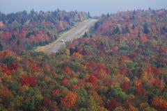 De de herfstweg langs Toneelweg de V.S. leidt 150, WV Stock Foto