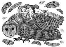 De de het schuuruil, meisje en veren Stock Afbeeldingen