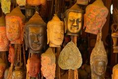 De de hoofdmaskers en gravures van Boedha Stock Foto