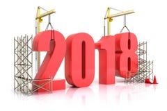 De de jaar 2018 groei, bouw, verbetering van zaken of in het algemeen concept in het jaar 2018 Stock Fotografie