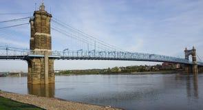 De de John A Roebling Suspension Bridge in Cincinnati, Ohio Stock Fotografie