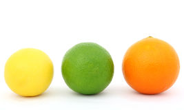 De de kleurrijke kalk en sinaasappel van de fruitcitroen Royalty-vrije Stock Afbeeldingen