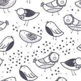 De de lentevogels overhandigen getrokken naadloos vectorpatroon Stock Foto