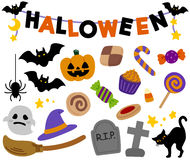 De de leuke decoratie en punten van Halloween vector illustratie
