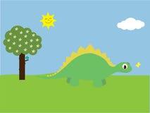 De de leuke Dinosaurus & Vlinder van het Beeldverhaal in Park vector illustratie