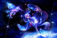 De de lichtgevende iris en kolibrie van Fairytale Stock Foto's