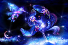 De de lichtgevende iris en kolibrie van Fairytale Stock Afbeeldingen