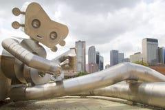 De de Lopende Man en horizon van Dallas Royalty-vrije Stock Foto