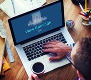 De de Meningsinkomens van winstbesparingen bekijken Totaal Bedragconcept royalty-vrije stock afbeeldingen