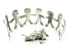 De de mensenknipsels van dollars dansen rond plakken Stock Foto